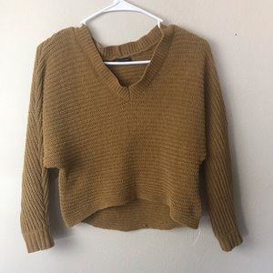 American Eagle Outfitters Cropped Mustard Sweater
